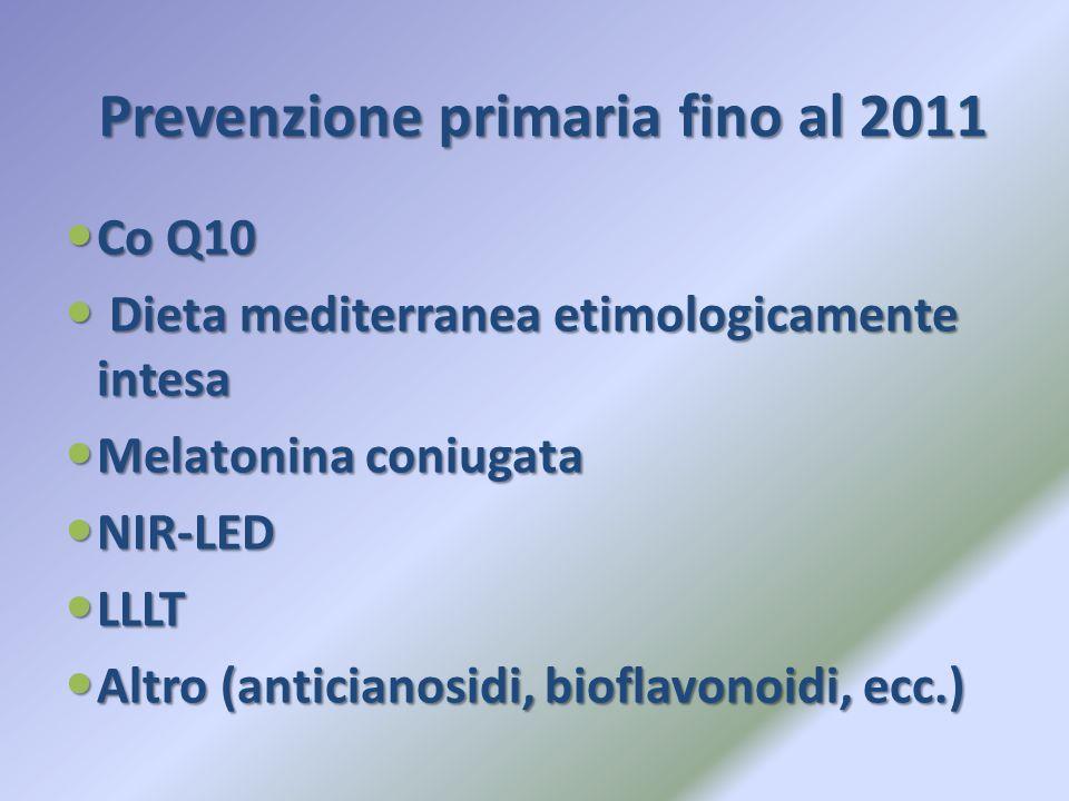 Prevenzione primaria fino al 2011 Co Q10 Co Q10 Dieta mediterranea etimologicamente intesa Dieta mediterranea etimologicamente intesa Melatonina coniu