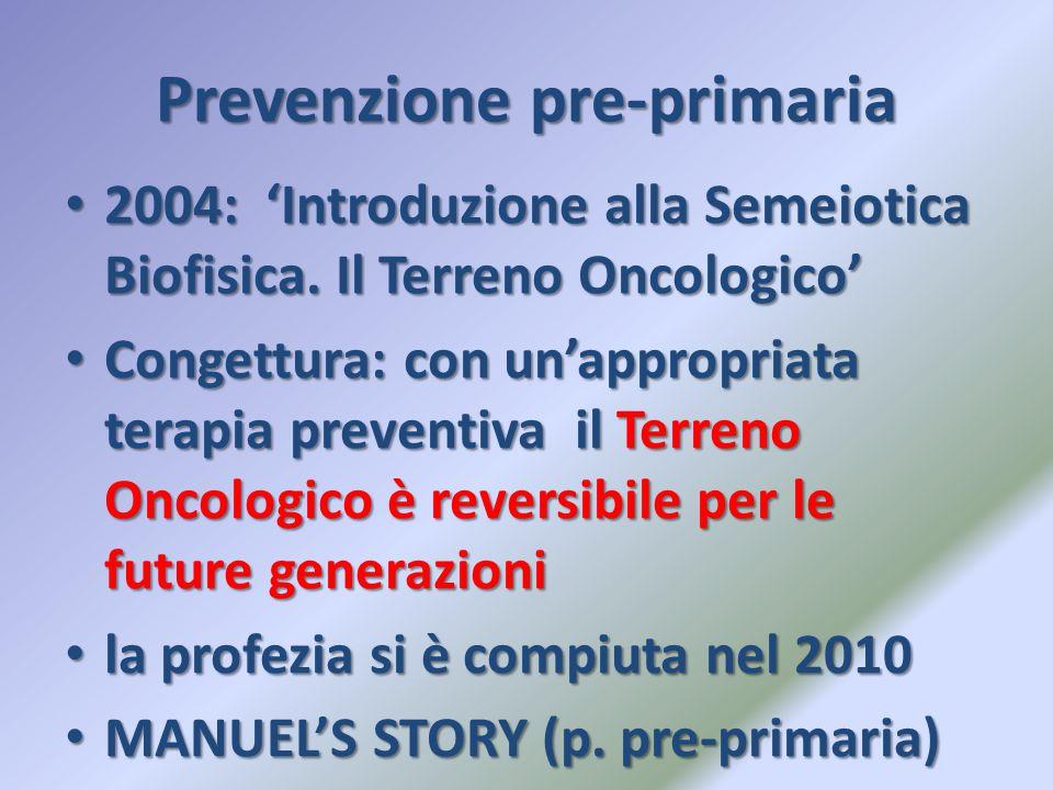 Prevenzione pre-primaria 2004: 'Introduzione alla Semeiotica Biofisica. Il Terreno Oncologico' 2004: 'Introduzione alla Semeiotica Biofisica. Il Terre