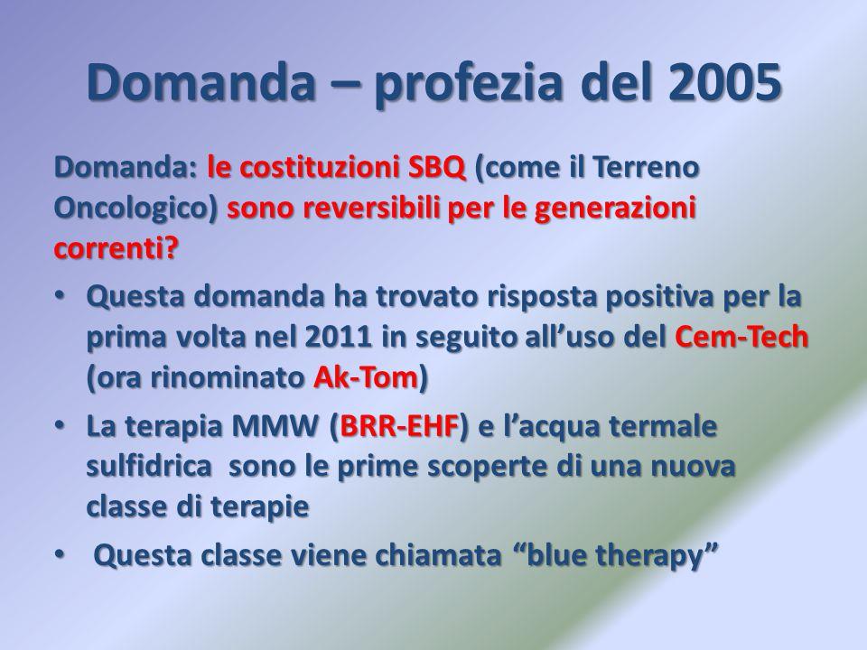 Domanda – profezia del 2005 Domanda: le costituzioni SBQ (come il Terreno Oncologico) sono reversibili per le generazioni correnti? Questa domanda ha