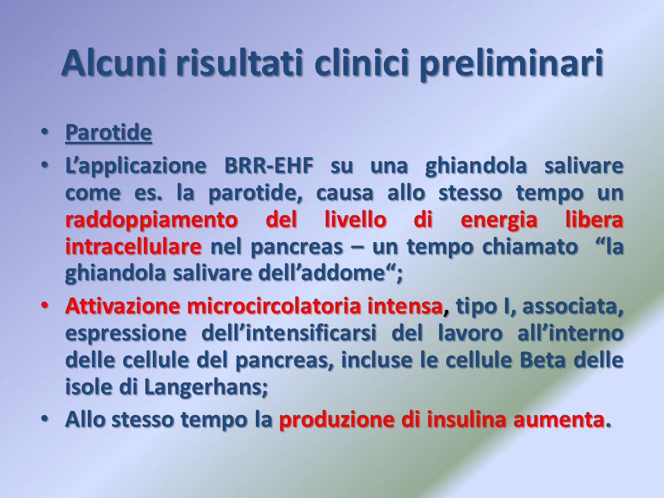 Alcuni risultati clinici preliminari Parotide Parotide L'applicazione BRR-EHF su una ghiandola salivare come es. la parotide, causa allo stesso tempo