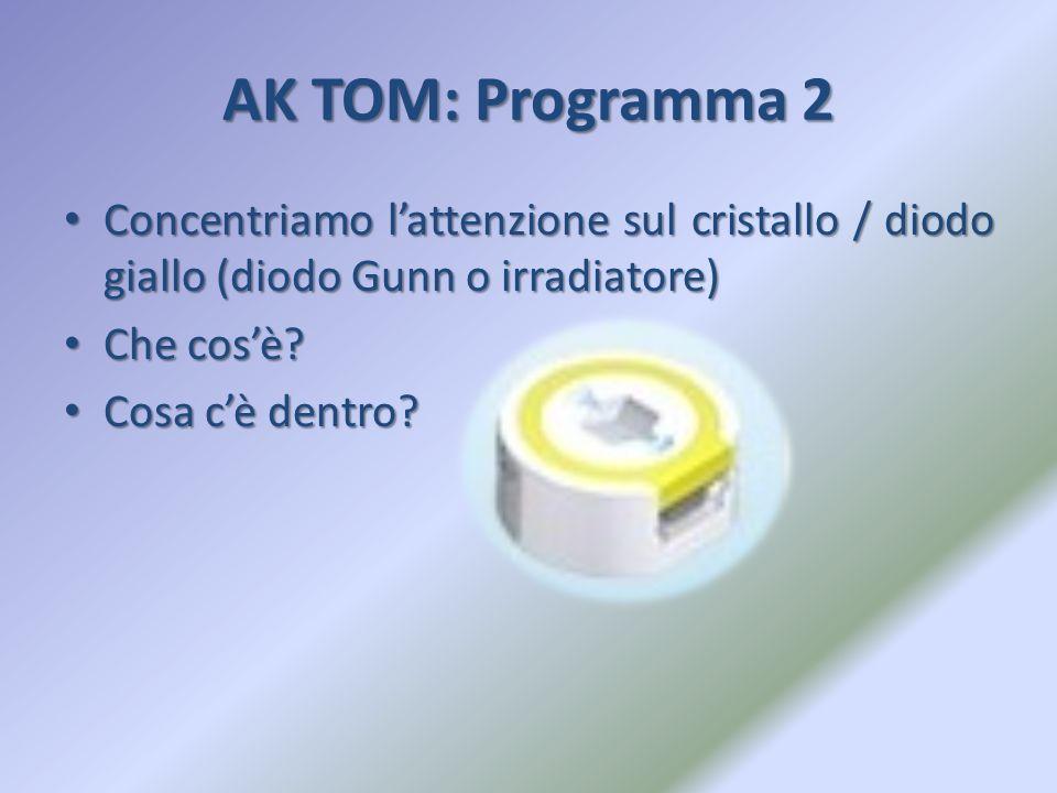 AK TOM: Programma 2 Concentriamo l'attenzione sul cristallo / diodo giallo (diodo Gunn o irradiatore) Concentriamo l'attenzione sul cristallo / diodo