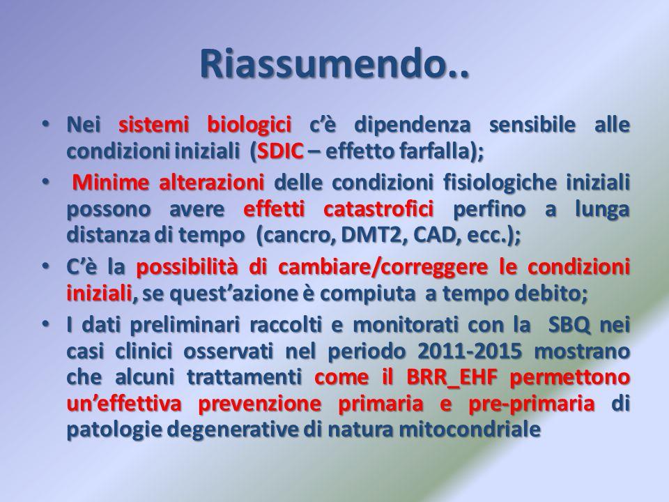 Riassumendo.. Nei sistemi biologici c'è dipendenza sensibile alle condizioni iniziali (SDIC – effetto farfalla); Nei sistemi biologici c'è dipendenza