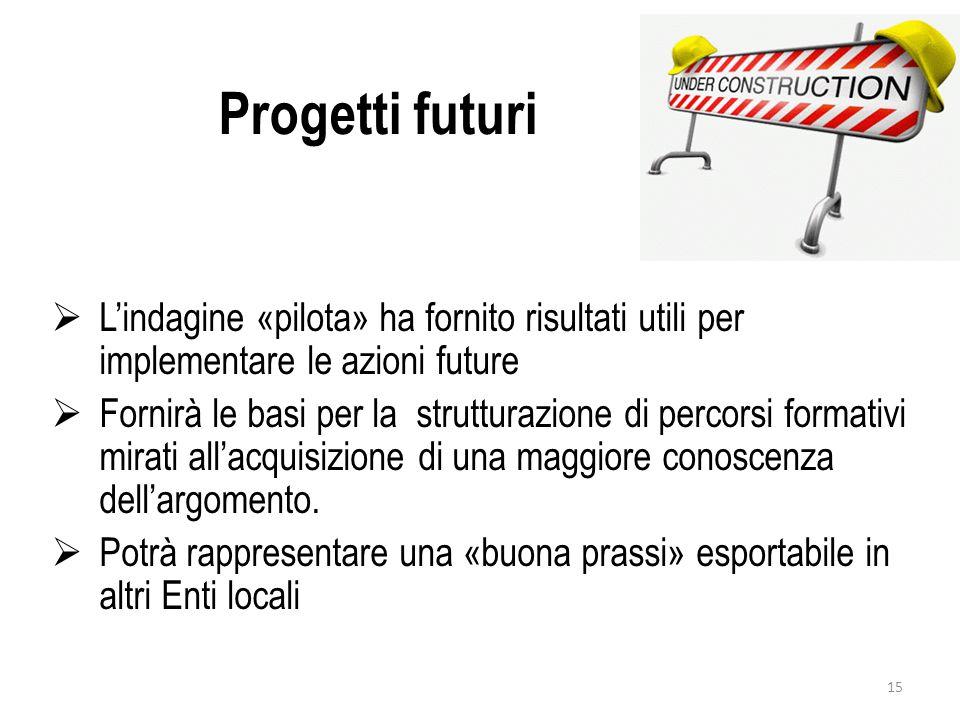 Progetti futuri  L'indagine «pilota» ha fornito risultati utili per implementare le azioni future  Fornirà le basi per la strutturazione di percorsi formativi mirati all'acquisizione di una maggiore conoscenza dell'argomento.