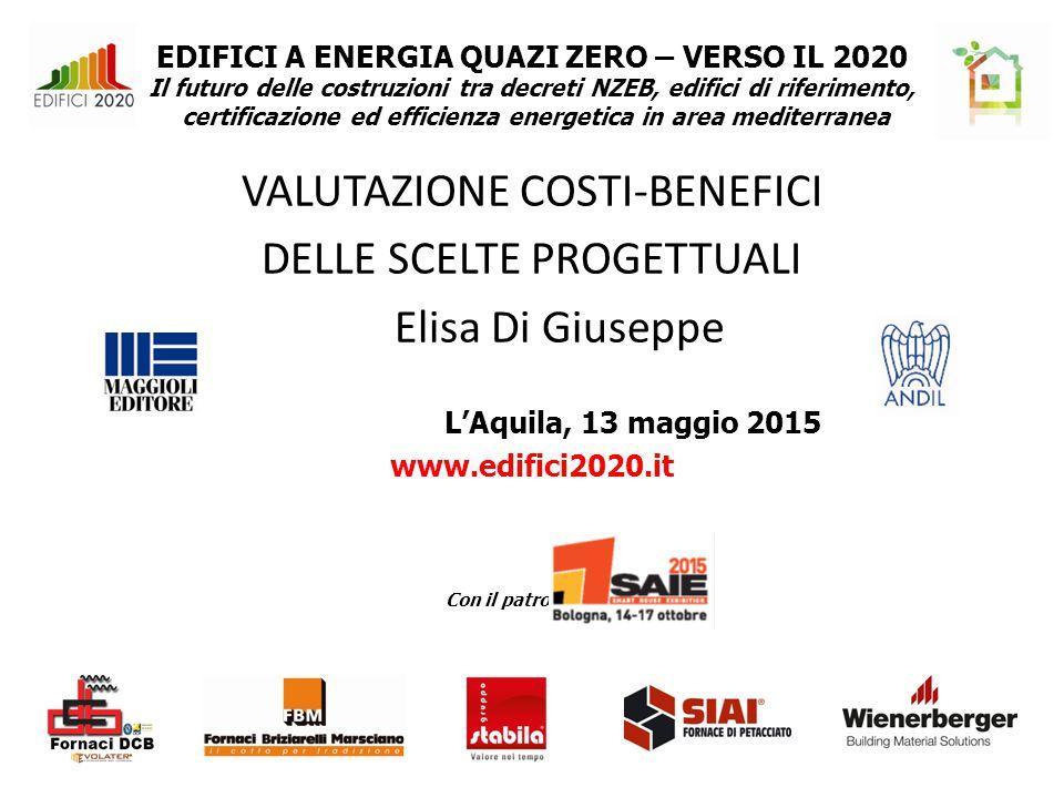 EDIFICI A ENERGIA QUAZI ZERO – VERSO IL 2020 Il futuro delle costruzioni tra decreti NZEB, edifici di riferimento, certificazione ed efficienza energetica in area mediterranea VALUTAZIONE COSTI-BENEFICI DELLE SCELTE PROGETTUALI Elisa Di Giuseppe L'Aquila, 13 maggio 2015 www.edifici2020.it Con il patrocinio di