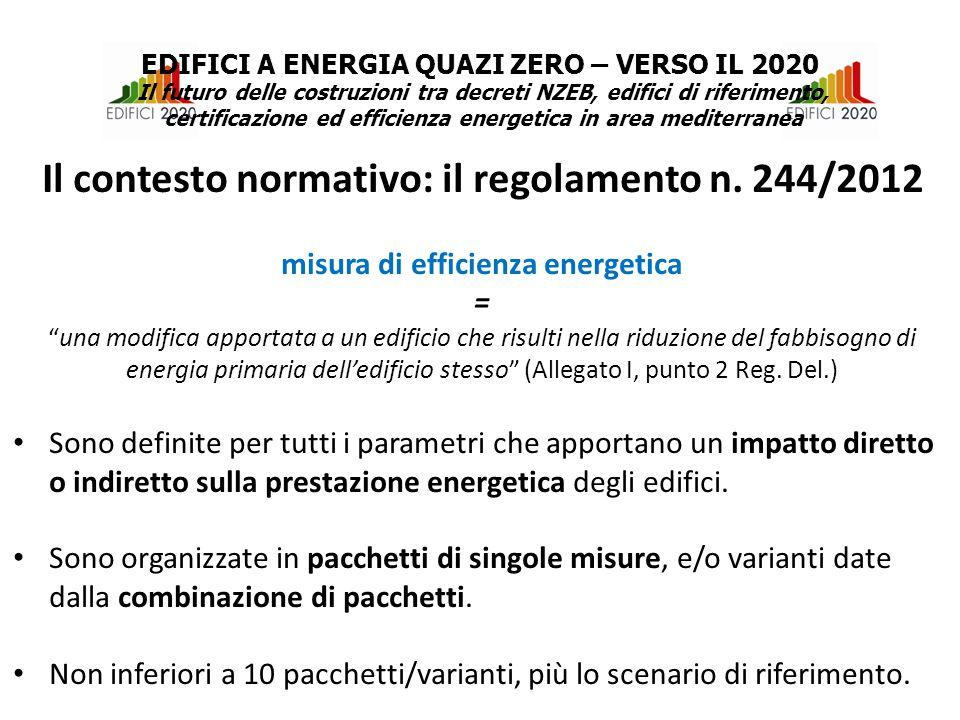 misura di efficienza energetica = una modifica apportata a un edificio che risulti nella riduzione del fabbisogno di energia primaria dell'edificio stesso (Allegato I, punto 2 Reg.