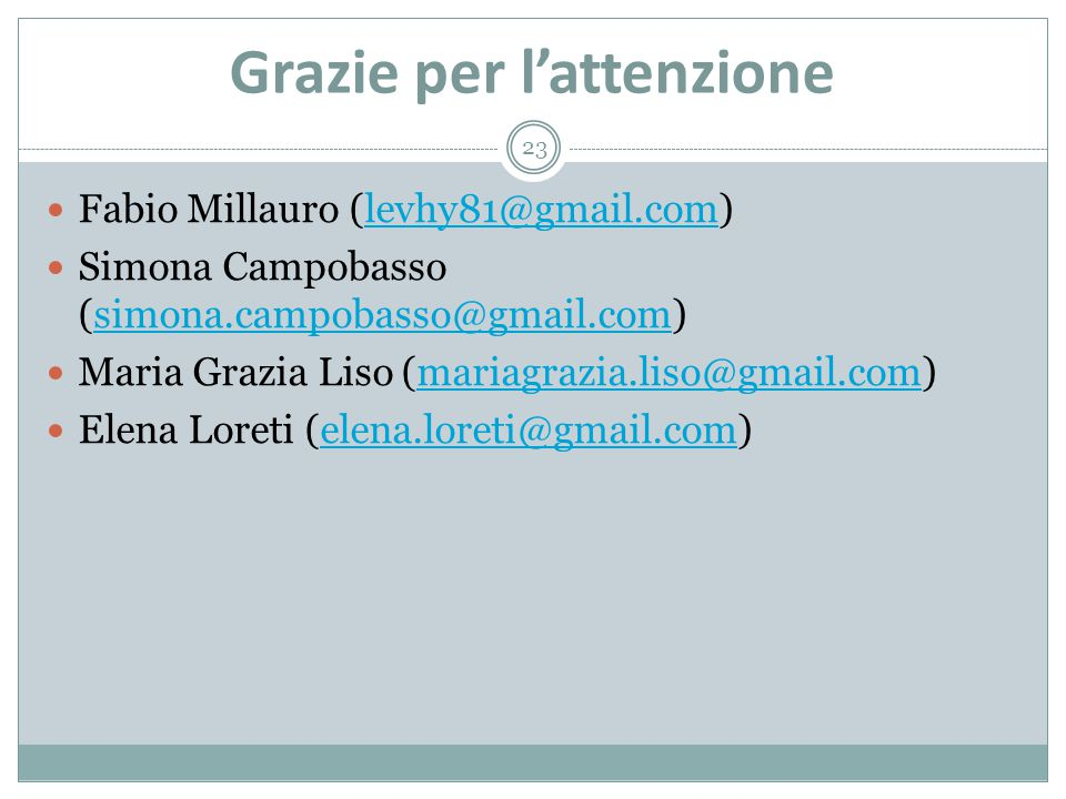 Grazie per l'attenzione 23 Fabio Millauro (levhy81@gmail.com)levhy81@gmail.com Simona Campobasso (simona.campobasso@gmail.com)simona.campobasso@gmail.