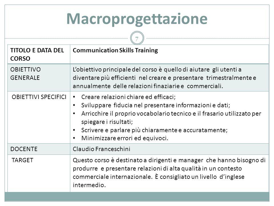 Macroprogettazione TITOLO E DATA DEL CORSO Communication Skills Training OBIETTIVO GENERALE L'obiettivo principale del corso è quello di aiutare gli u