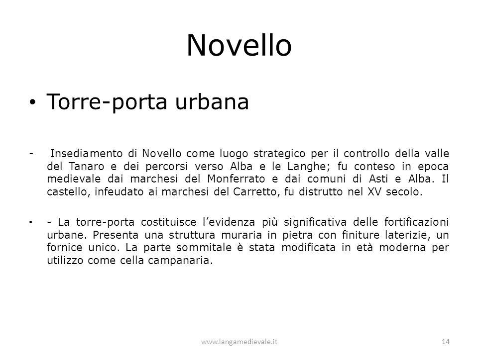 Novello Torre-porta urbana - Insediamento di Novello come luogo strategico per il controllo della valle del Tanaro e dei percorsi verso Alba e le Lang