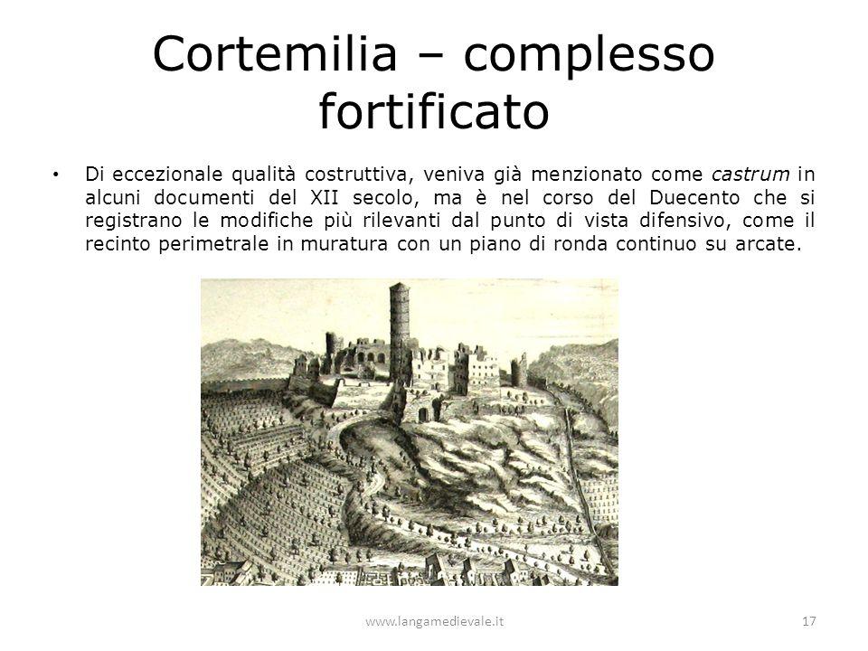 Cortemilia – complesso fortificato Di eccezionale qualità costruttiva, veniva già menzionato come castrum in alcuni documenti del XII secolo, ma è nel corso del Duecento che si registrano le modifiche più rilevanti dal punto di vista difensivo, come il recinto perimetrale in muratura con un piano di ronda continuo su arcate.