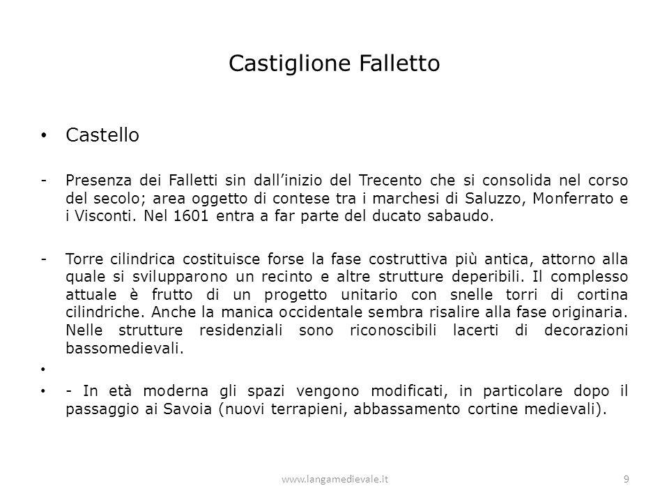 Castiglione Falletto Castello -Presenza dei Falletti sin dall'inizio del Trecento che si consolida nel corso del secolo; area oggetto di contese tra i marchesi di Saluzzo, Monferrato e i Visconti.