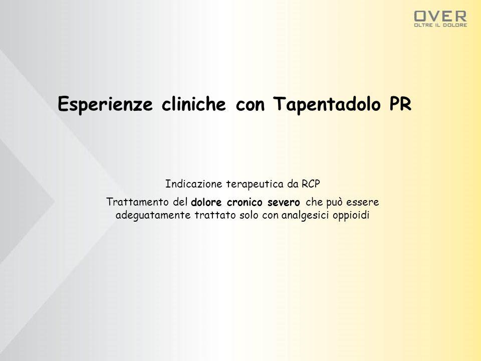 Esperienze cliniche con Tapentadolo PR Indicazione terapeutica da RCP Trattamento del dolore cronico severo che può essere adeguatamente trattato solo con analgesici oppioidi