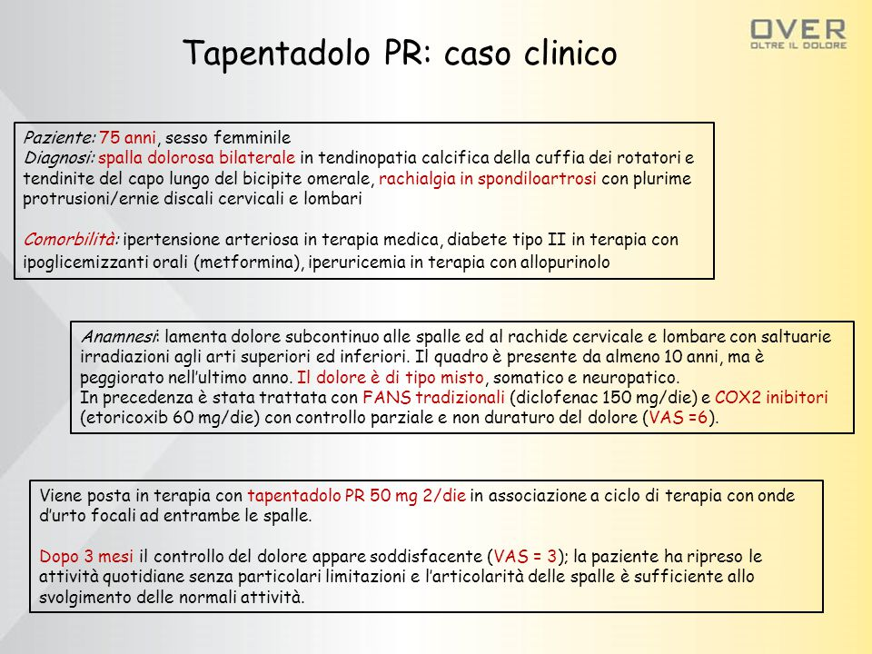 Paziente: 75 anni, sesso femminile Diagnosi: spalla dolorosa bilaterale in tendinopatia calcifica della cuffia dei rotatori e tendinite del capo lungo del bicipite omerale, rachialgia in spondiloartrosi con plurime protrusioni/ernie discali cervicali e lombari Comorbilità: ipertensione arteriosa in terapia medica, diabete tipo II in terapia con ipoglicemizzanti orali (metformina), iperuricemia in terapia con allopurinolo Anamnesi: lamenta dolore subcontinuo alle spalle ed al rachide cervicale e lombare con saltuarie irradiazioni agli arti superiori ed inferiori.