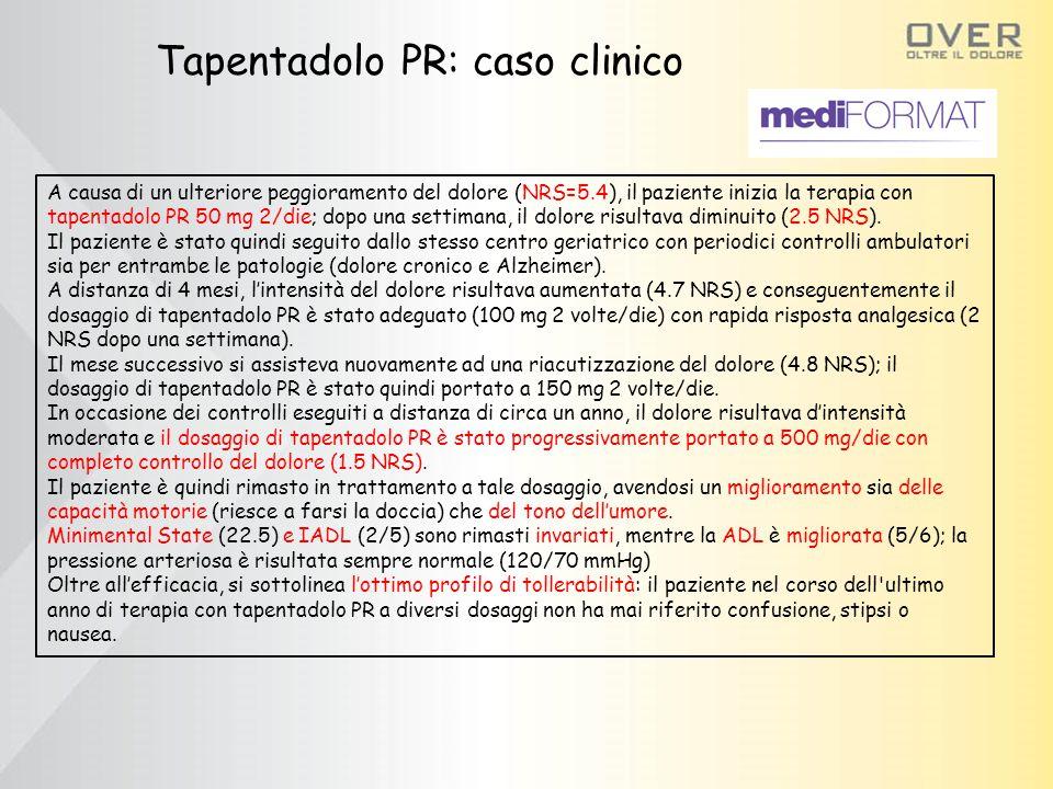 Tapentadolo PR: caso clinico A causa di un ulteriore peggioramento del dolore (NRS=5.4), il paziente inizia la terapia con tapentadolo PR 50 mg 2/die; dopo una settimana, il dolore risultava diminuito (2.5 NRS).
