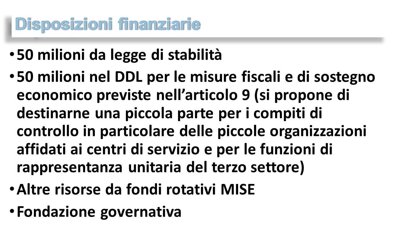 50 milioni da legge di stabilità 50 milioni nel DDL per le misure fiscali e di sostegno economico previste nell'articolo 9 (si propone di destinarne u