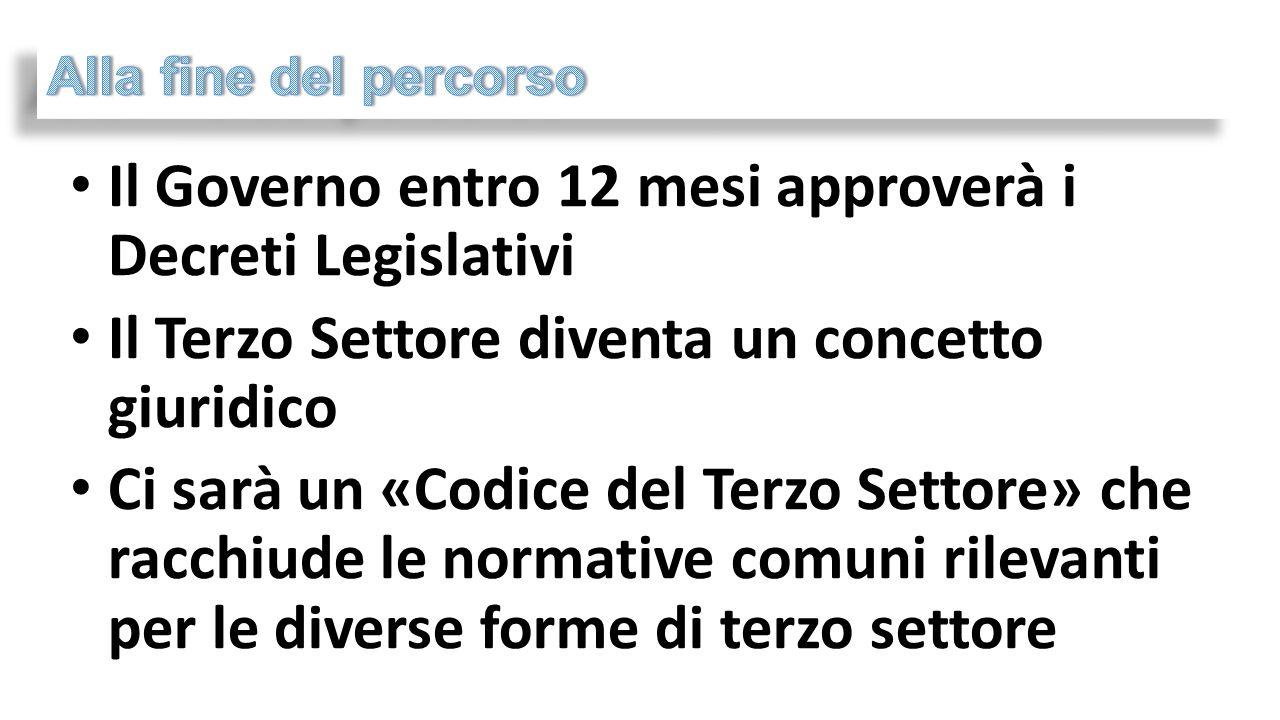 Il Governo entro 12 mesi approverà i Decreti Legislativi Il Terzo Settore diventa un concetto giuridico Ci sarà un «Codice del Terzo Settore» che racchiude le normative comuni rilevanti per le diverse forme di terzo settore