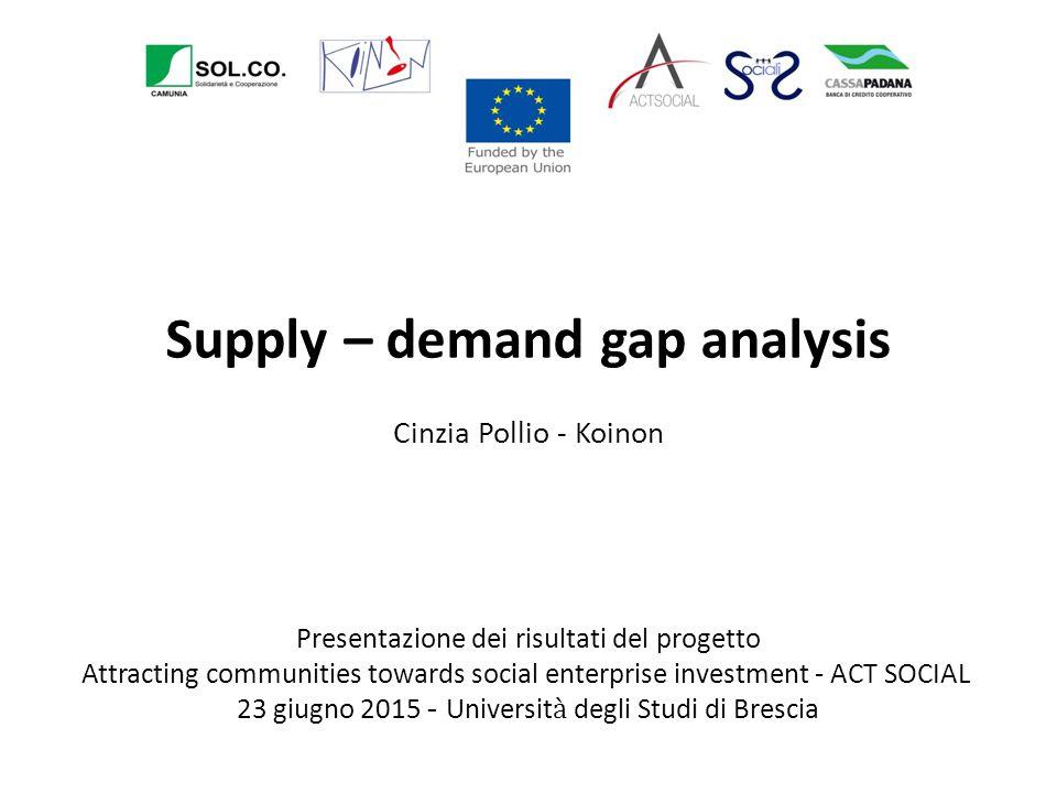 Supply – demand gap analysis Cinzia Pollio - Koinon Presentazione dei risultati del progetto Attracting communities towards social enterprise investme