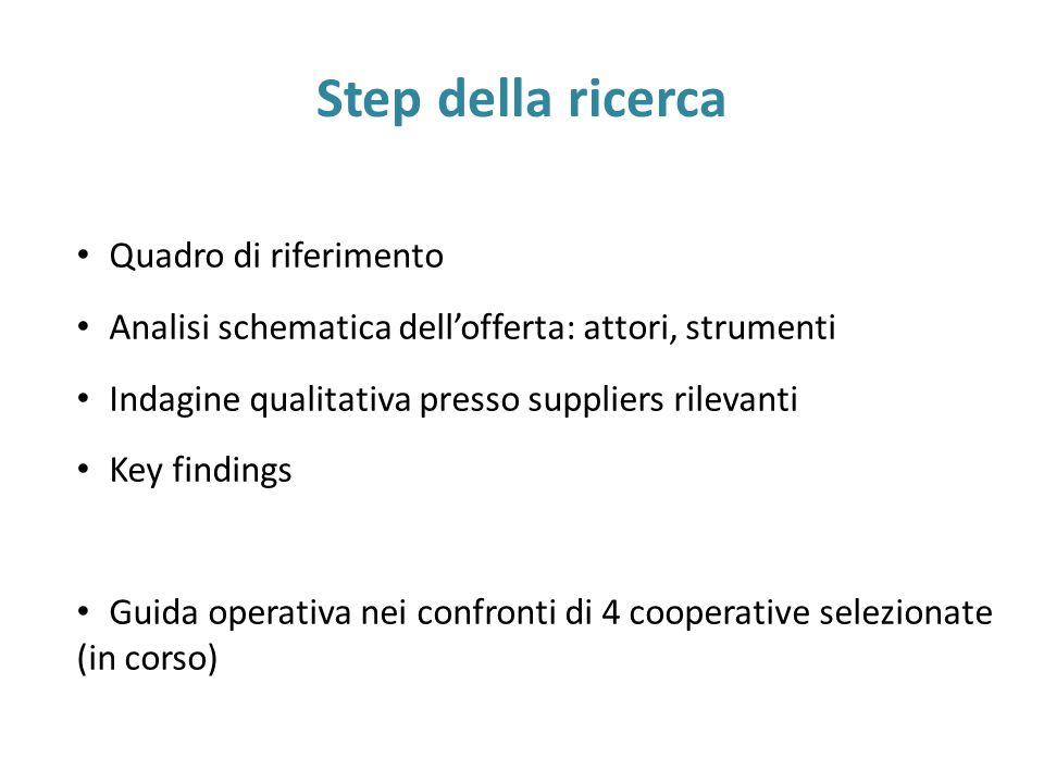 Step della ricerca Quadro di riferimento Analisi schematica dell'offerta: attori, strumenti Indagine qualitativa presso suppliers rilevanti Key findings Guida operativa nei confronti di 4 cooperative selezionate (in corso)