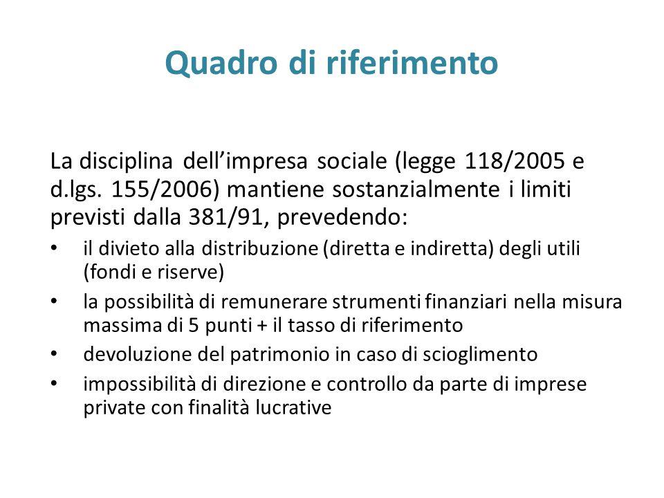 Quadro di riferimento La disciplina dell'impresa sociale (legge 118/2005 e d.lgs.