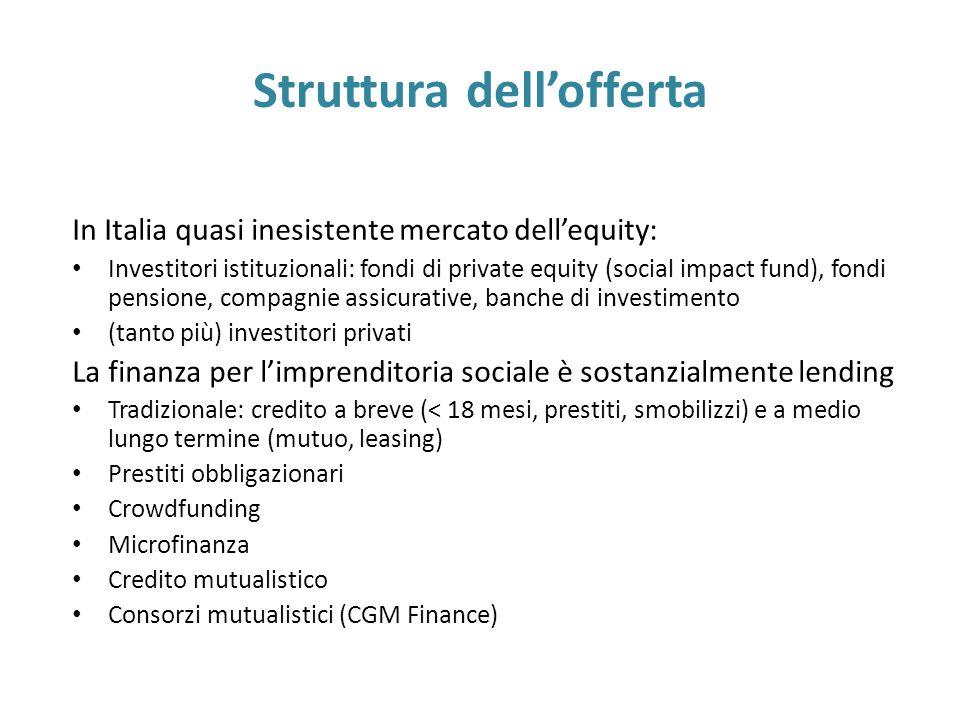 Struttura dell'offerta In Italia quasi inesistente mercato dell'equity: Investitori istituzionali: fondi di private equity (social impact fund), fondi pensione, compagnie assicurative, banche di investimento (tanto più) investitori privati La finanza per l'imprenditoria sociale è sostanzialmente lending Tradizionale: credito a breve (< 18 mesi, prestiti, smobilizzi) e a medio lungo termine (mutuo, leasing) Prestiti obbligazionari Crowdfunding Microfinanza Credito mutualistico Consorzi mutualistici (CGM Finance)