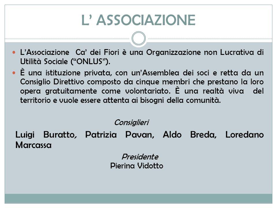 L' ASSOCIAZIONE L'Associazione Ca' dei Fiori è una Organizzazione non Lucrativa di Utilità Sociale ( ONLUS ).