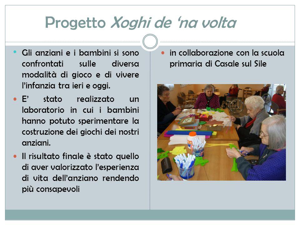 Progetto Xoghi de 'na volta Gli anziani e i bambini si sono confrontati sulle diversa modalità di gioco e di vivere l'infanzia tra ieri e oggi.