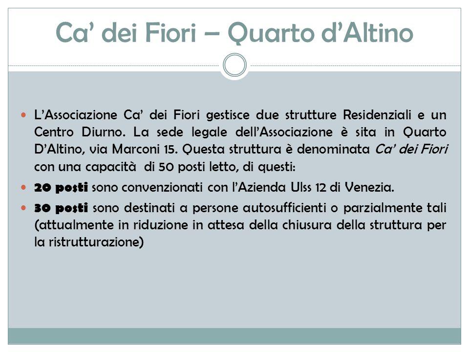 Ca' dei Fiori – Quarto d'Altino L'Associazione Ca' dei Fiori gestisce due strutture Residenziali e un Centro Diurno.