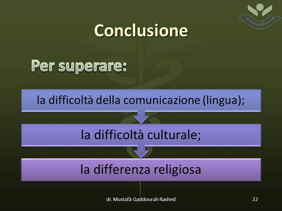 Conclusione la differenza religiosa la difficoltà culturale; la difficoltà della comunicazione (lingua); dr.