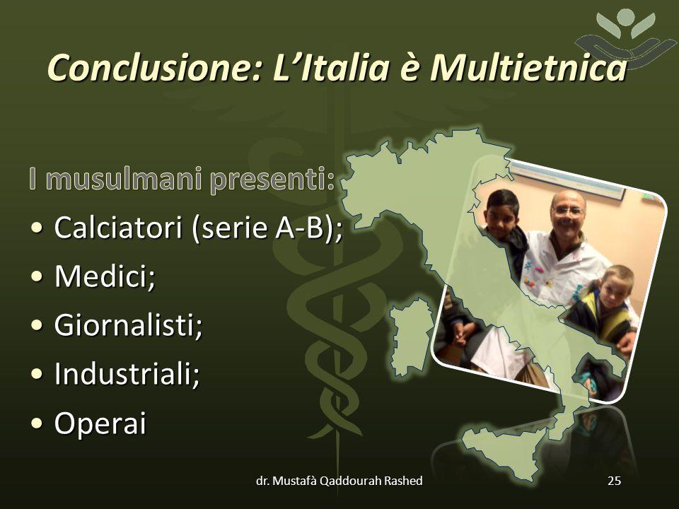 Conclusione: L'Italia è Multietnica dr. Mustafà Qaddourah Rashed25
