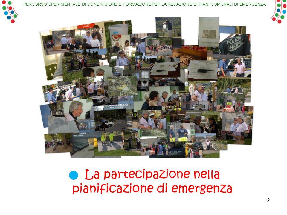 PERCORSO SPERIMENTALE DI CONDIVISIONE E FORMAZIONE PER LA REDAZIONE DI PIANI COMUNALI DI EMERGENZA 12 La partecipazione nella pianificazione di emergenza
