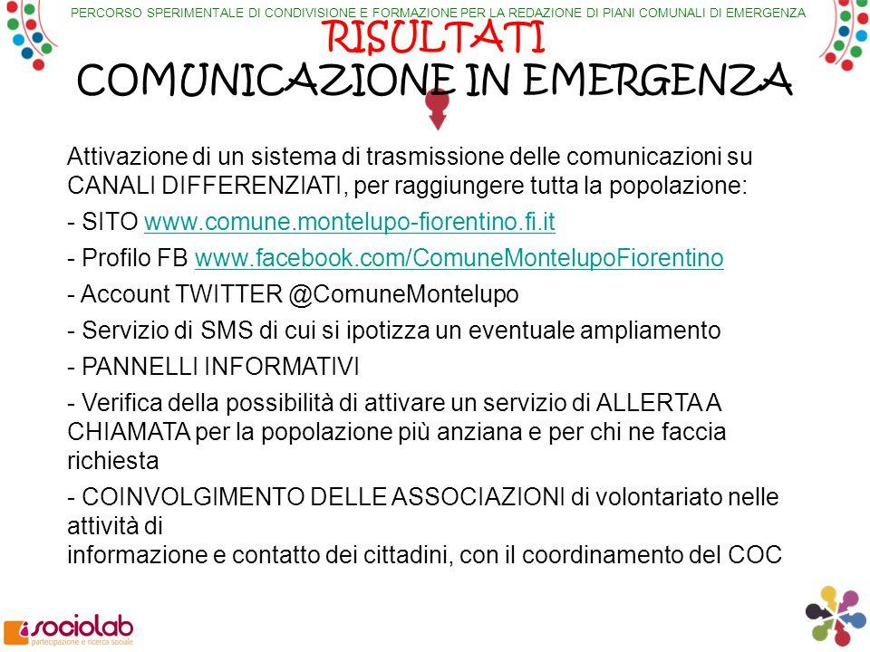 PERCORSO SPERIMENTALE DI CONDIVISIONE E FORMAZIONE PER LA REDAZIONE DI PIANI COMUNALI DI EMERGENZA RISULTATI COMUNICAZIONE IN EMERGENZA Attivazione di un sistema di trasmissione delle comunicazioni su CANALI DIFFERENZIATI, per raggiungere tutta la popolazione: - SITO www.comune.montelupo-fiorentino.fi.itwww.comune.montelupo-fiorentino.fi.it - Profilo FB www.facebook.com/ComuneMontelupoFiorentinowww.facebook.com/ComuneMontelupoFiorentino - Account TWITTER @ComuneMontelupo - Servizio di SMS di cui si ipotizza un eventuale ampliamento - PANNELLI INFORMATIVI - Verifica della possibilità di attivare un servizio di ALLERTA A CHIAMATA per la popolazione più anziana e per chi ne faccia richiesta - COINVOLGIMENTO DELLE ASSOCIAZIONI di volontariato nelle attività di informazione e contatto dei cittadini, con il coordinamento del COC