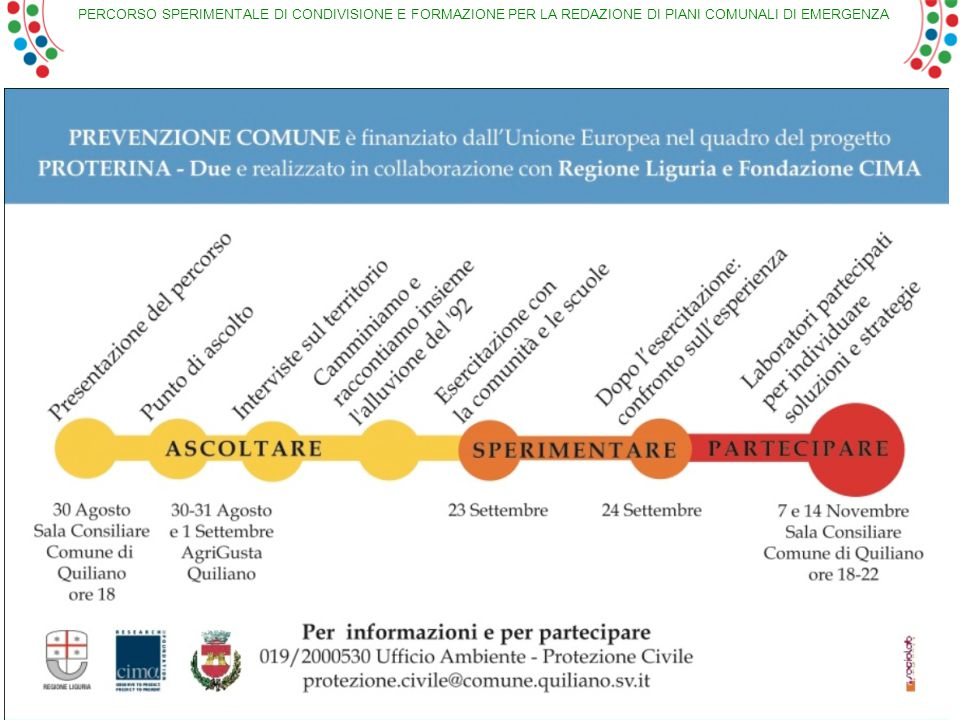 PERCORSO SPERIMENTALE DI CONDIVISIONE E FORMAZIONE PER LA REDAZIONE DI PIANI COMUNALI DI EMERGENZA 37