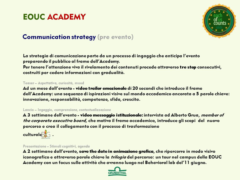 Communication strategy (pre evento) EOUC ACADEMY La strategia di comunicazione parte da un processo di ingaggio che anticipa l'evento preparando il pu