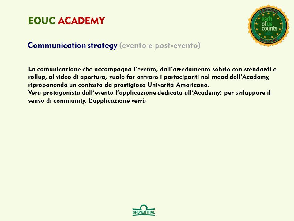 Communication strategy (evento e post-evento) EOUC ACADEMY La comunicazione che accompagna l'evento, dall'arredamento sobrio con stendardi e rollup, a