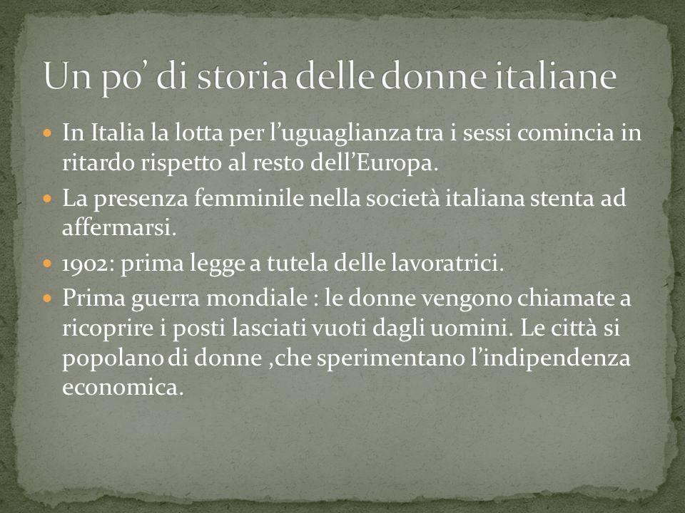 In Italia la lotta per l'uguaglianza tra i sessi comincia in ritardo rispetto al resto dell'Europa.