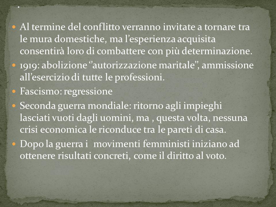 In Italia la lotta per l'uguaglianza tra i sessi comincia in ritardo rispetto al resto dell'Europa. La presenza femminile nella società italiana stent