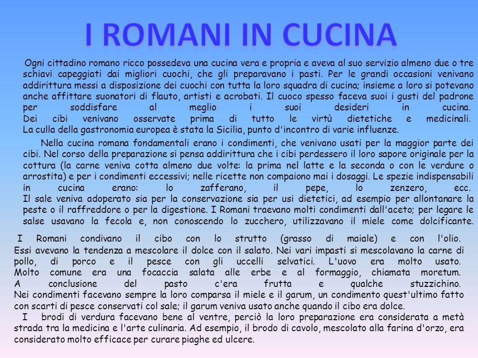 Ogni cittadino romano ricco possedeva una cucina vera e propria e aveva al suo servizio almeno due o tre schiavi capeggiati dai migliori cuochi, che gli preparavano i pasti.