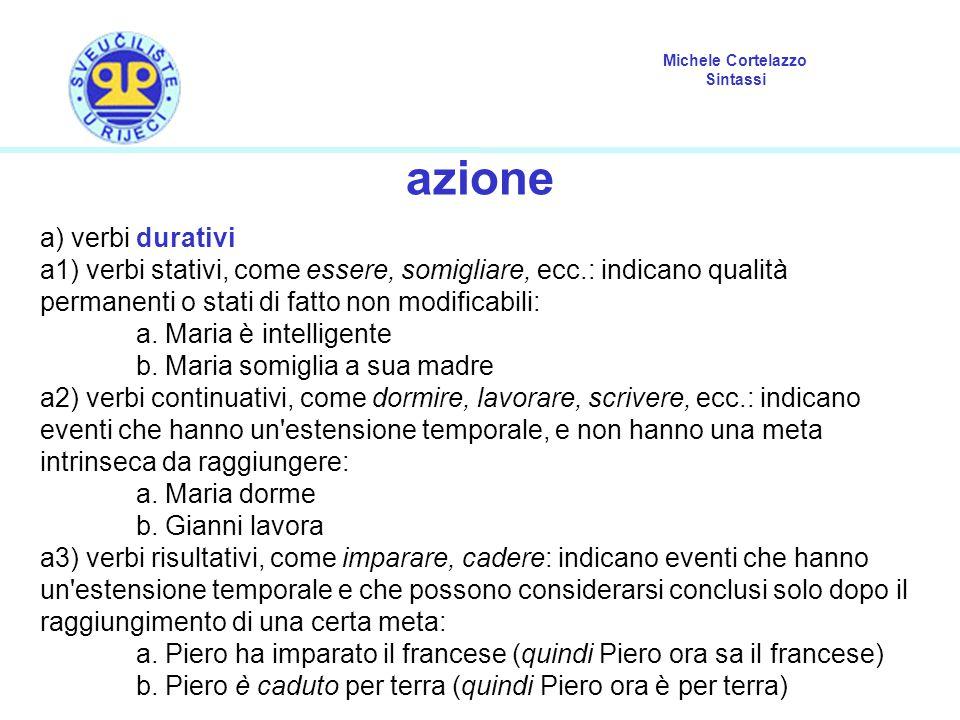 Michele Cortelazzo Sintassi azione a) verbi durativi a1) verbi stativi, come essere, somigliare, ecc.: indicano qualità permanenti o stati di fatto non modificabili: a.