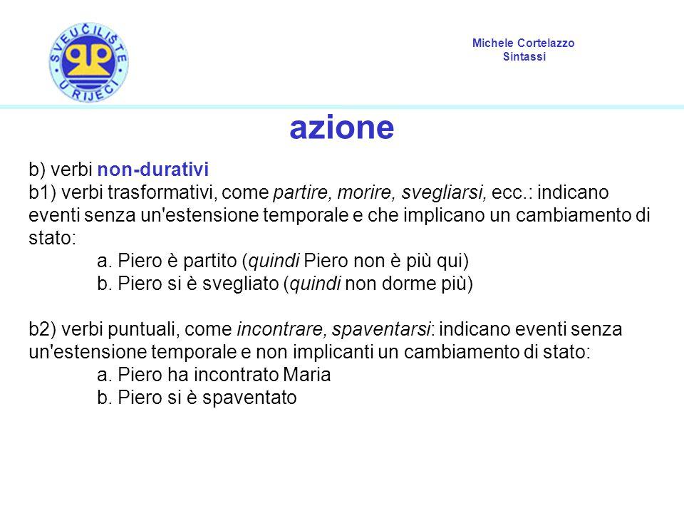 Michele Cortelazzo Sintassi azione b) verbi non-durativi b1) verbi trasformativi, come partire, morire, svegliarsi, ecc.: indicano eventi senza un'est