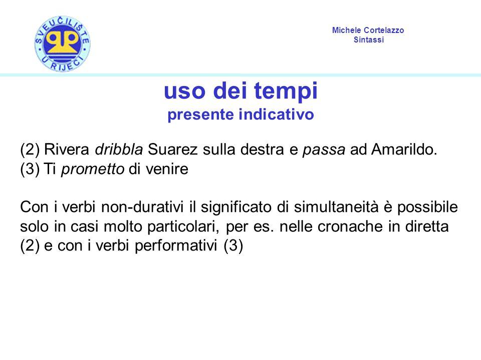 Michele Cortelazzo Sintassi uso dei tempi presente indicativo (2) Rivera dribbla Suarez sulla destra e passa ad Amarildo. (3) Ti prometto di venire Co