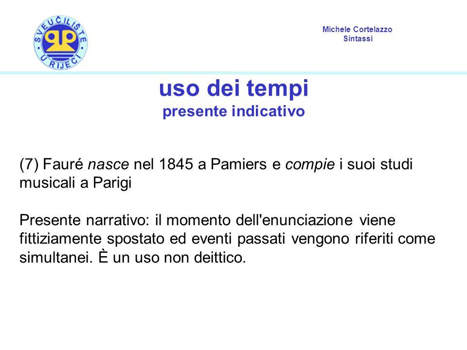 Michele Cortelazzo Sintassi uso dei tempi presente indicativo (7) Fauré nasce nel 1845 a Pamiers e compie i suoi studi musicali a Parigi Presente narr