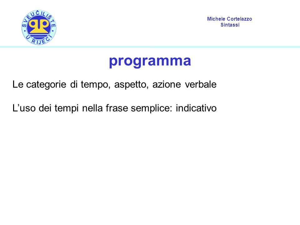 Michele Cortelazzo Sintassi categorie del verbo tempo: situa un certo evento sull asse temporale.
