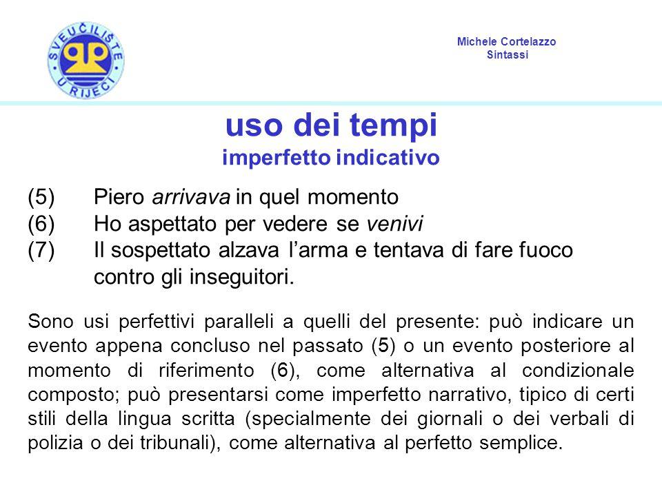 Michele Cortelazzo Sintassi uso dei tempi imperfetto indicativo (5) Piero arrivava in quel momento (6) Ho aspettato per vedere se venivi (7) Il sospettato alzava l'arma e tentava di fare fuoco contro gli inseguitori.