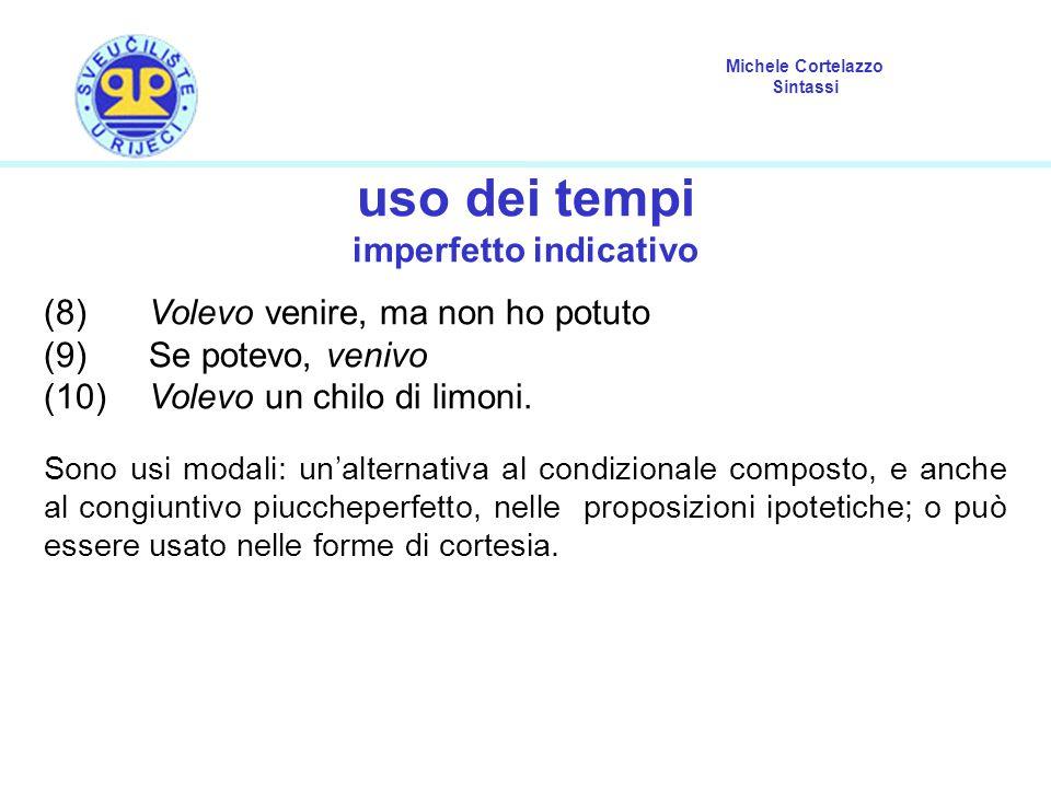 Michele Cortelazzo Sintassi uso dei tempi imperfetto indicativo (8) Volevo venire, ma non ho potuto (9) Se potevo, venivo (10) Volevo un chilo di limoni.