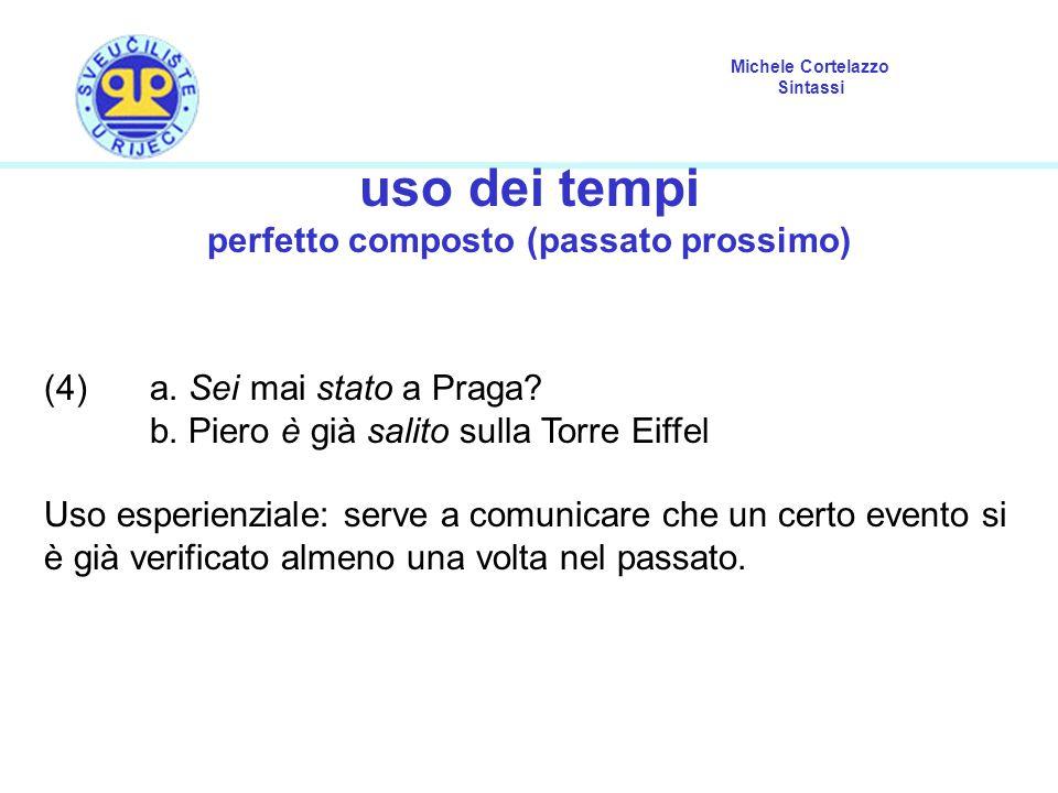 Michele Cortelazzo Sintassi uso dei tempi perfetto composto (passato prossimo) (4)a. Sei mai stato a Praga? b. Piero è già salito sulla Torre Eiffel U