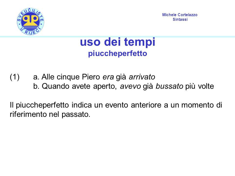 Michele Cortelazzo Sintassi uso dei tempi piuccheperfetto (1) a. Alle cinque Piero era già arrivato b. Quando avete aperto, avevo già bussato più volt