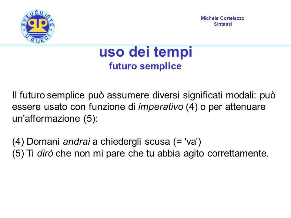 Michele Cortelazzo Sintassi uso dei tempi futuro semplice Il futuro semplice può assumere diversi significati modali: può essere usato con funzione di imperativo (4) o per attenuare un affermazione (5): (4) Domani andrai a chiedergli scusa (= va ) (5) Ti dirò che non mi pare che tu abbia agito correttamente.