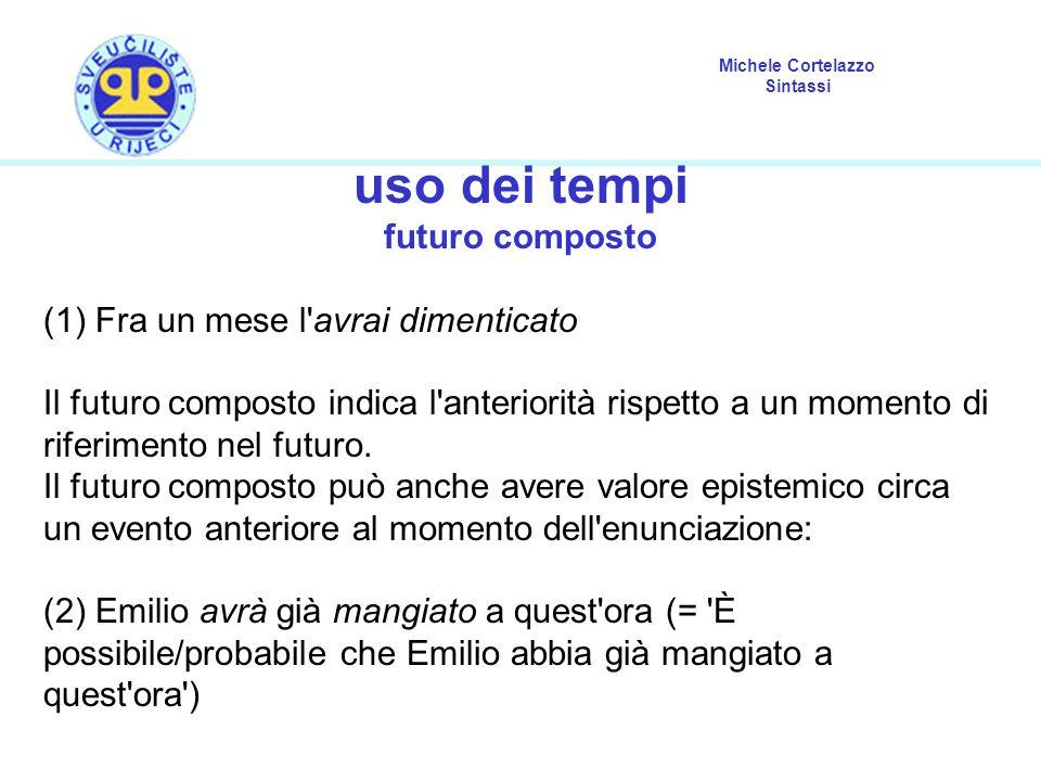Michele Cortelazzo Sintassi uso dei tempi futuro composto (1) Fra un mese l avrai dimenticato Il futuro composto indica l anteriorità rispetto a un momento di riferimento nel futuro.