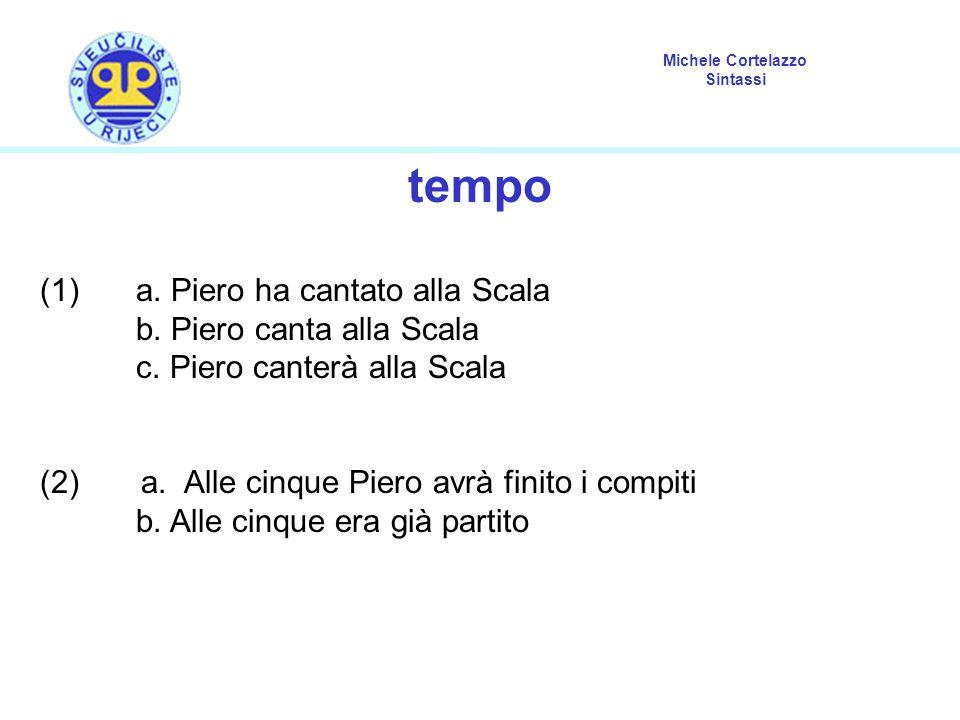 Michele Cortelazzo Sintassi tempo (1)a. Piero ha cantato alla Scala b. Piero canta alla Scala c. Piero canterà alla Scala (2) a. Alle cinque Piero avr