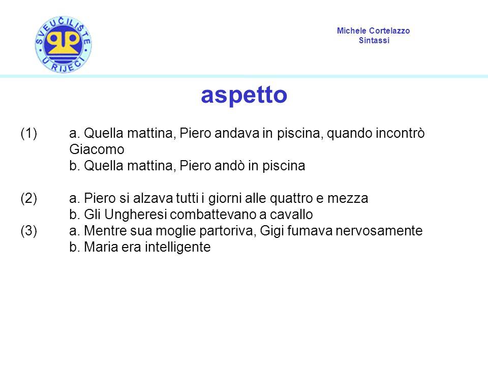 Michele Cortelazzo Sintassi aspetto (1)a. Quella mattina, Piero andava in piscina, quando incontrò Giacomo b. Quella mattina, Piero andò in piscina (2