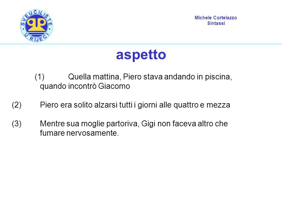 Michele Cortelazzo Sintassi aspetto (1) Quella mattina, Piero stava andando in piscina, quando incontrò Giacomo (2) Piero era solito alzarsi tutti i g